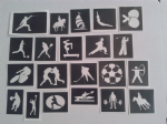 Olympic Sport themed stencils for etching on to glass    basketball cheerleader  baseball Rio 2016